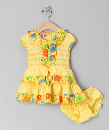 Yellow Ruffle Smocked Dress & Bloomers - Infant
