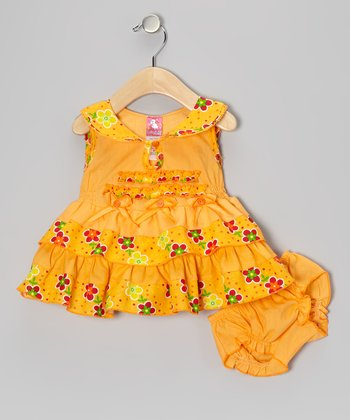 Orange Floral Ruffle Dress & Diaper Cover - Infant