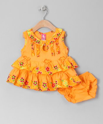Orange Keyhole A-Line Dress & Diaper Cover - Infant