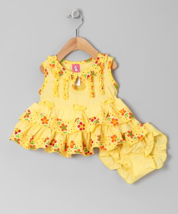 Yellow Keyhole A-Line Dress & Diaper Cover - Infant