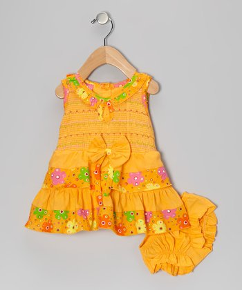 Orange Floral Bow Ruffle Shirred Dress & Diaper Cover - Infant