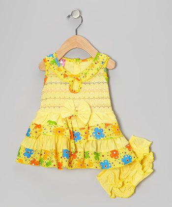 Yellow Floral Bow Ruffle Shirred Dress & Diaper Cover - Infant