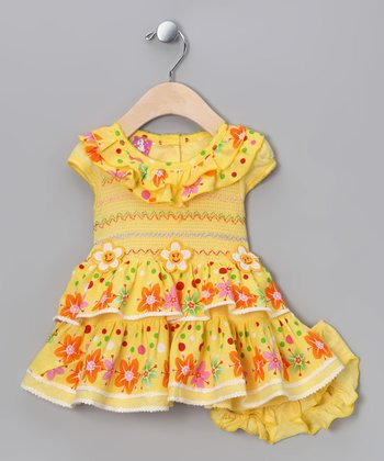 Yellow Daisy Shirred Dress & Diaper Cover - Infant