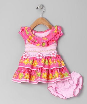 Pink Happy Flower Smocked Dress & Bloomers - Infant