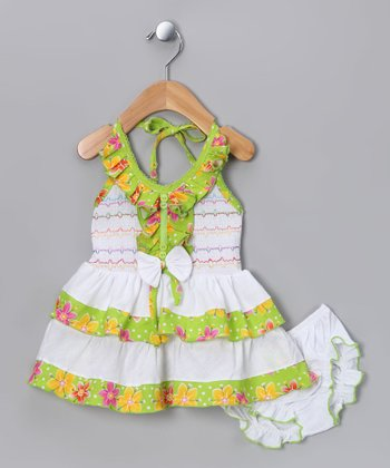 Green Flower Halter Dress & Diaper Cover - Infant