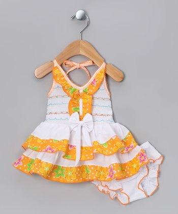 Orange Flower Halter Dress & Diaper Cover - Infant