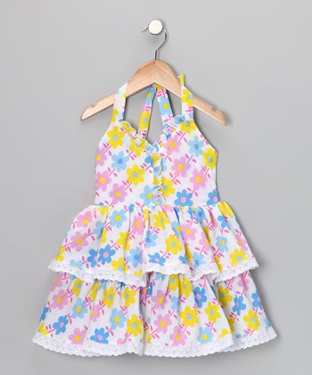 Bright Blue & Pink Floral Halter Dress - Toddler & Girls