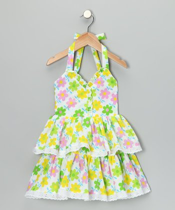 Green & Pink Floral Halter Dress - Toddler & Girls