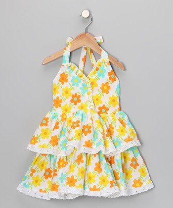 Bright Yellow & Turquoise Floral Halter Dress - Toddler & Girls