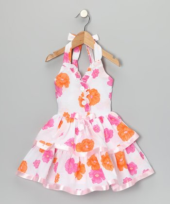 Pink & Orange Floral Halter Dress - Toddler & Girls