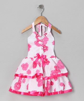 Pink Floral Halter Dress - Toddler & Girls