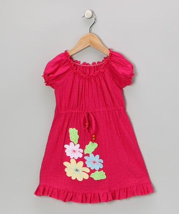 Fuchsia Flower Patch Peasant Dress - Toddler & Girls
