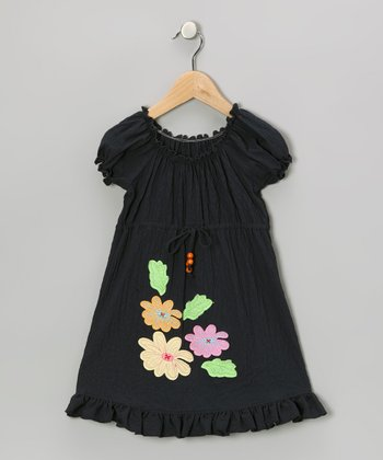 Navy Flower Patch Peasant Dress - Toddler & Girls