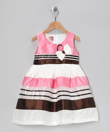 Pink Stripe Bow Dress - Toddler & Girls
