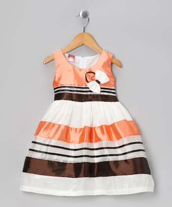 Orange Stripe Bow Dress - Toddler & Girls