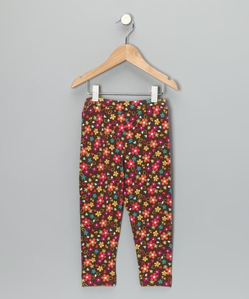 Brown Floral Leggings - Toddler & Girls