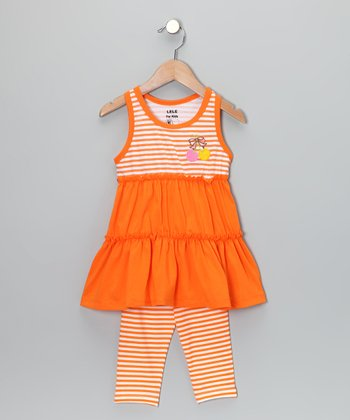 Orange Stripe Tunic & Leggings - Toddler & Girls