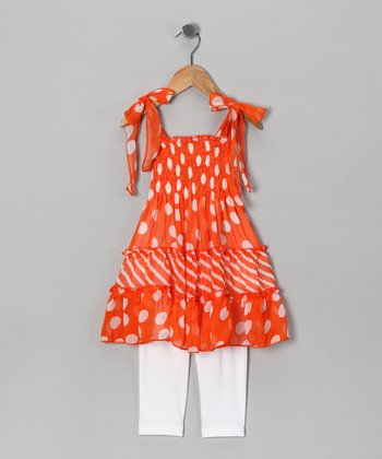 Orange Polka Dot Tunic & Leggings - Toddler & Girls