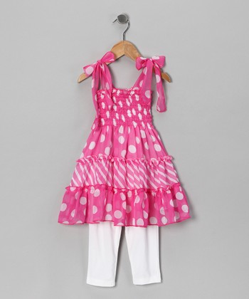 Pink Polka Dot Tunic & White Leggings - Toddler & Girls