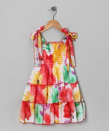 Red & Yellow Flower Chiffon Dress - Girls