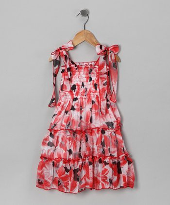 Red & Black Chiffon Dress - Girls