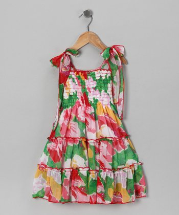 Green Flower Chiffon Sundress - Girls