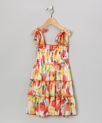 Yellow & Orange Tulip Sundress - Girls