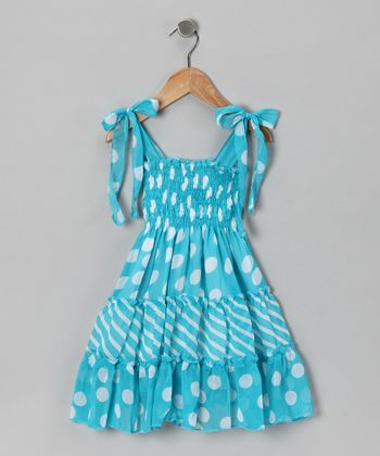 Blue Polka Dot Chiffon Dress - Infant