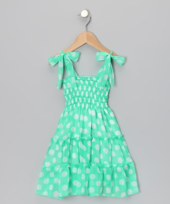 Mint Polka Dot Chiffon Dress - Toddler & Girls