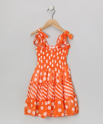 Orange Polka Dot & Stripe Shoulder-Tie Dress - Girls