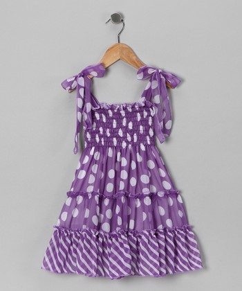 Purple Polka Dot Chiffon Dress - Toddler & Girls