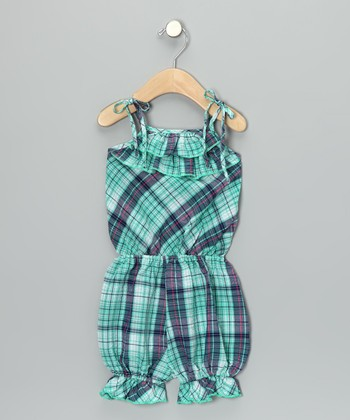 Blue Plaid Ruffle Romper - Toddler & Girls
