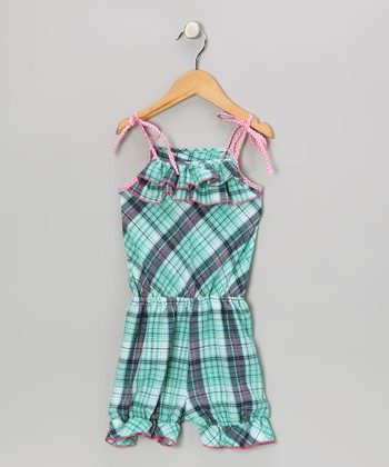 Blue & Pink Plaid Ruffle Romper - Toddler & Girls