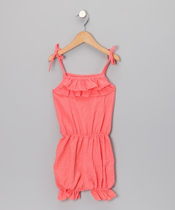 Coral Ruffle Romper - Toddler & Girls