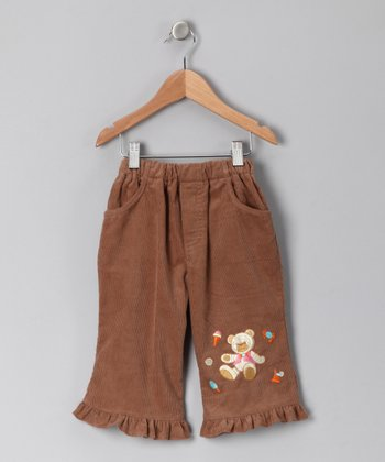 Light Brown Teddy Bear Corduroy Pants - Infant
