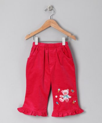 Fuchsia Teddy Bear Corduroy Pants - Infant