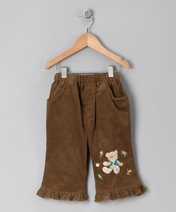 Olive Green Teddy Bear Corduroy Pants - Infant