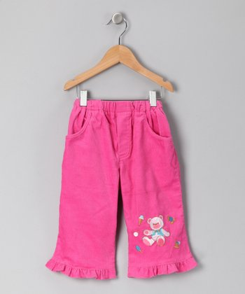 Pink Teddy Bear Corduroy Pants - Infant