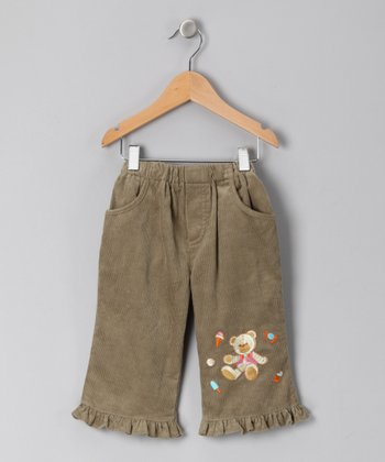 Khaki Teddy Bear Corduroy Pants - Infant