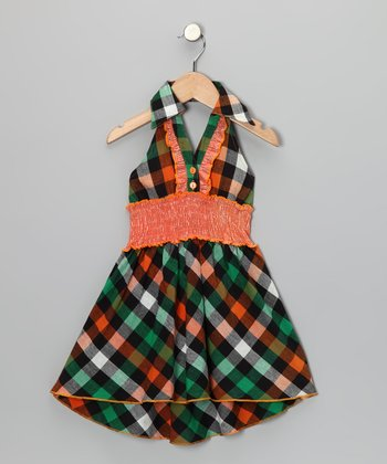 Orange & Green Plaid Halter Dress - Toddler & Girls