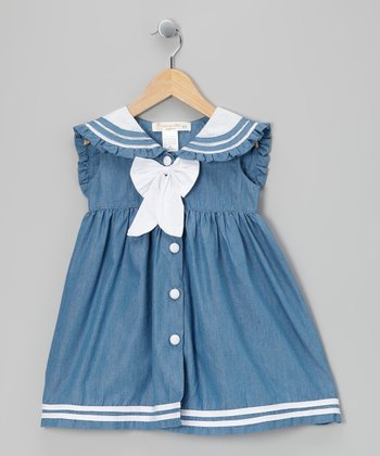 Chambray & White Sailorette Bow Dress - Infant, Toddler & Girls