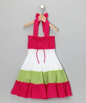 Fuchsia Tiered Convertible Dress - Girls