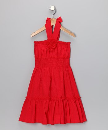 Red Rose Halter Dress - Girls