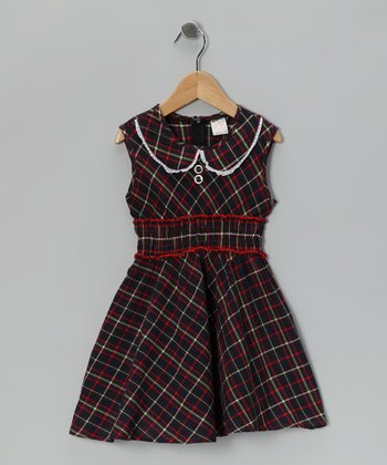 Red & Green Plaid Dress - Girls