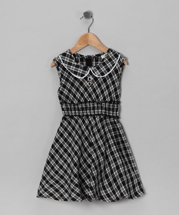 Black & White Plaid Dress - Girls