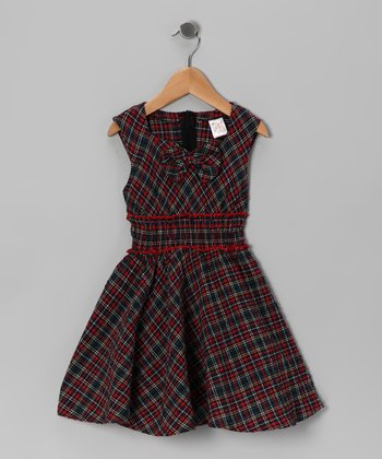 Red & Black Plaid Bow Dress - Girls