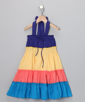 Blue & Yellow Tiered Halter Dress - Girls
