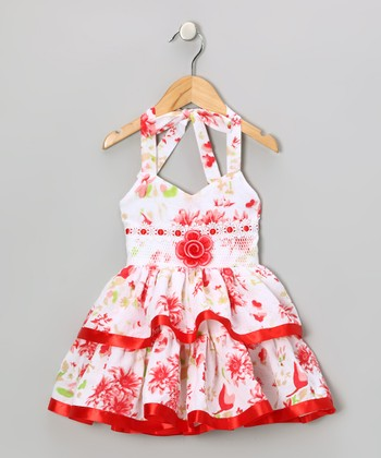 Red Floral Halter Dress - Toddler & Girls