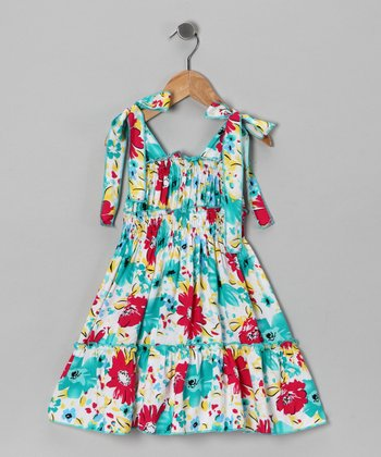 White & Blue Floral Dress - Toddler & Girls
