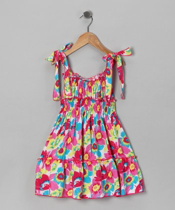 Pink Floral Shirred Dress - Toddler & Girls